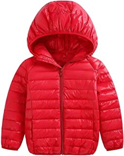 Fairy Baby Baby Boys Girls Lightweight Down Jacket Kids Winter Packable Hoodie Coats Size 2T (red)