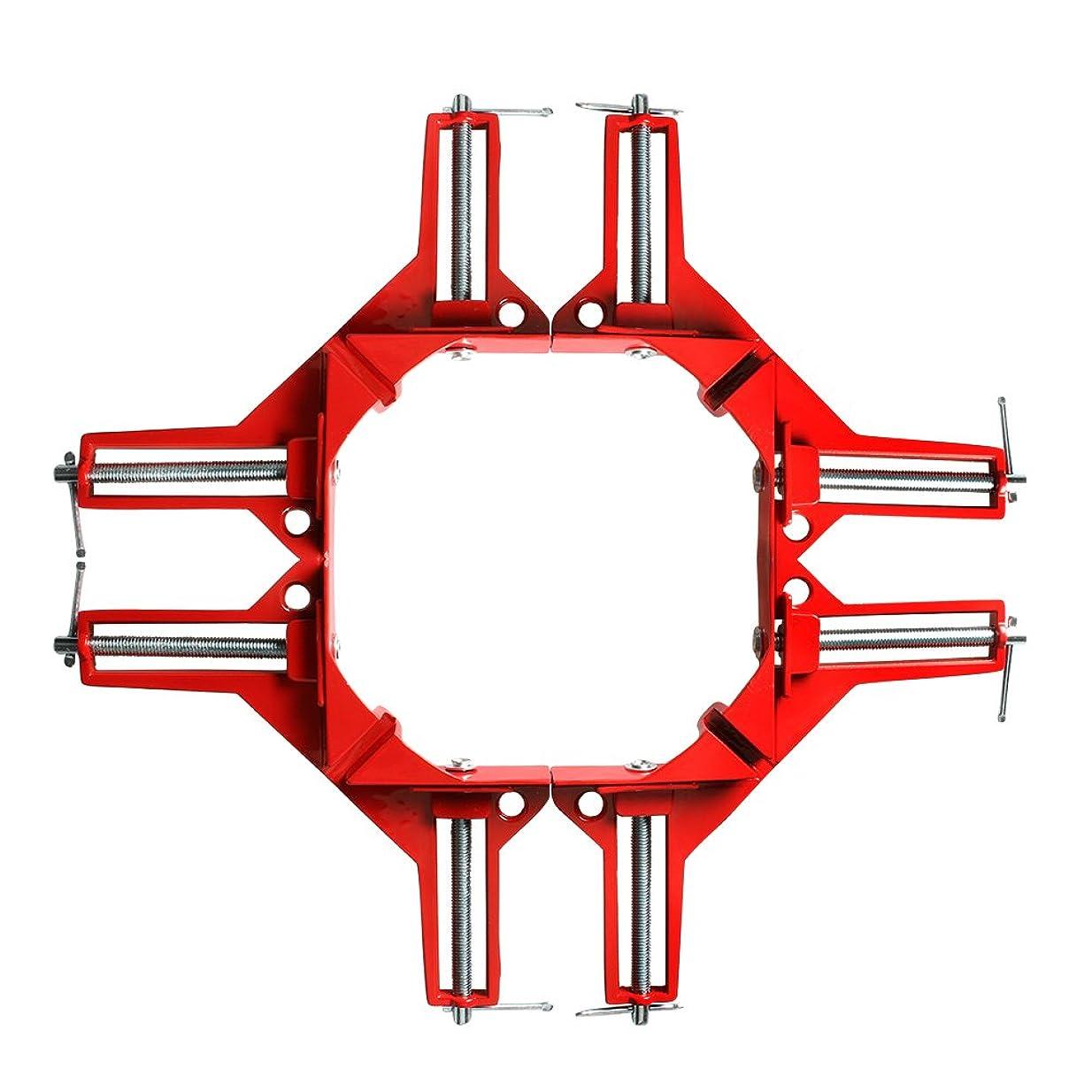 明るくする愛するアブセイコーナー クランプ 4個 セット 90° 直角 木工定規 直角定規 直角クランプ DIY 工具 クランプ (赤 4個)