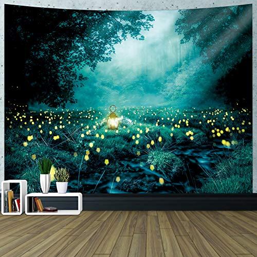 GUIFIER Wandbehang Wandteppich, Tapisserie,Landschaft Wandteppich & Tagesdecke für Schlafzimmer Wohnzimmer Wohnheim (Glühwürmchen ,59 Zoll x 78.7 Zoll)