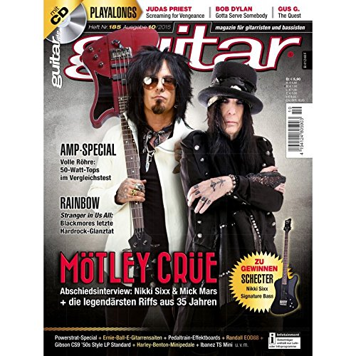 Guitar Ausgabe 10 2015 - Mötley Crüe - mit CD - Interviews - Workshops - Playalong Songs - Test und Technik