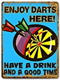 DART BOARD metal sign drinks/beer VINTAGE style bar pub mancave wall decor 601