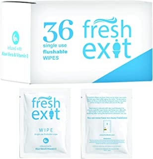 30 Individually Wrapped Flushable Wipes | 30 Count Bathroom Wipes | Perfect for Travel | Made by FreshExit