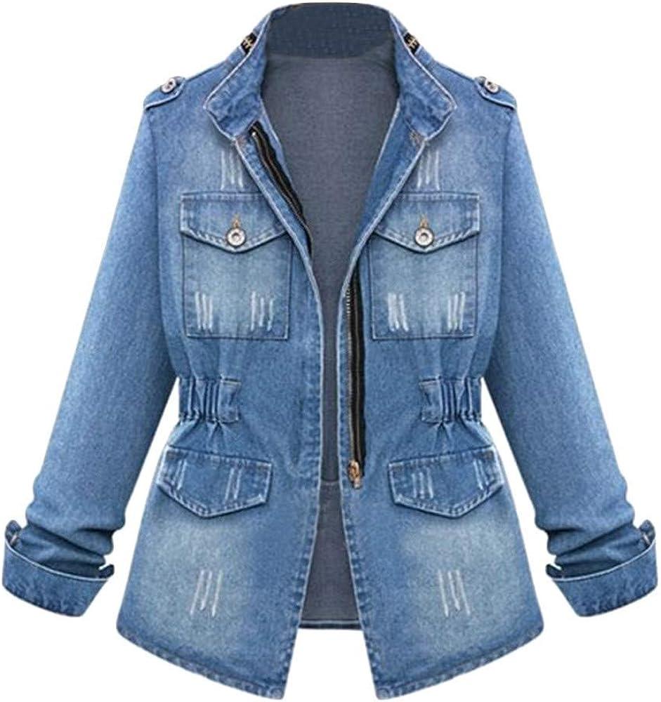 WUAI-Women Denim Jackets Jeans Plus Size Casual Ladies Oversized Pockets Trucker Coat