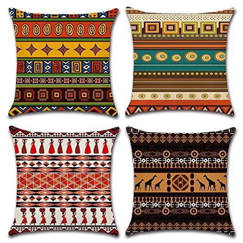 Gspirit 4 Pack Fundas Cojines 45x45 Cojines etnicos Algodón Lino Throw Pillow Case Cojines Decoracion