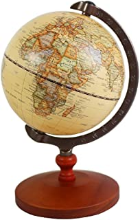 KiaoTime 5 inch Diameter BROWN Vintage World Globe Antique Decorative Desktop Globe Rotating Earth Geography Globe Wooden ...