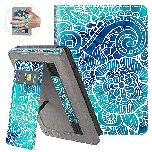 VORI Stand Case for Kindle Paperwhite (Fits All-New 10th Generation 2018 / All Paperwhite Generations) PU Leather Case Smart Protective Cover with Auto-Wake/Sleep and Hand Strap, Abstract Floral