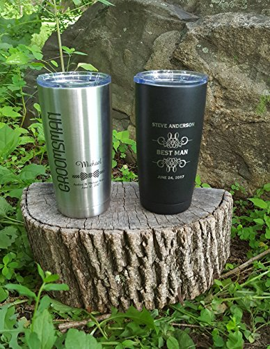 Set of 5 Personalized Polar Camel or YETI Insulated Mug, Groomsmen Gifts, Best Man Gift, Groomsman Gift, Wedding Party Gifts, ENGRAVED not a decal.