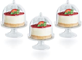 Posh Setting Mini Collection, Mini Cake Plate with Stand and Dome Cover, Heavyweight Clear Plastic, Elegant Disposable Mini Cake Stand. (10 CT))