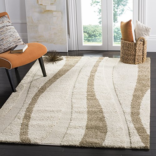 Safavieh Willow Shag Collection SG451-1128 Teppich, cremefarben / Dunkelbraun Modern 6'7