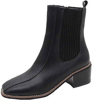 ZOSYNS Chelsea Enkellaarzen voor dames, winter, leren laarzen, warm gevoerd, modieus, casual, comfortabel, antislip, sneeu...