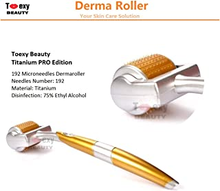 Toexy Beauty 1.0mm Micro Needles Derma Roller 192 Titanium Tips for Skin Care Beauty Tool, Anti Aging Wrinkles Acne Scars