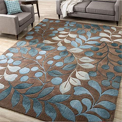 Home Decoracion alfombras de habitacion El patrón de la Planta Azul de la Alfombra marrón de la Sala de Estar es Suave y no está deformado Alfombra terraza Exterior 80X160CM 2ft 7.5' X5ft 3'