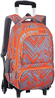 Cooralledtooere 6-Wheels Design Rolling Backpack Wheeled Backpack Trolley School Bag Travel Luggage, It's Perfect for Carrying Books Or Groceries (Color : Orange, Size : 31 * 18 * 45cm)