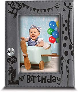 BELLA BUSTA- My First Birthday 2019 Picture Frame- 1st Birthday Gift- Baby's First Birthday Frame- Engraved Leather Picture Frame(5
