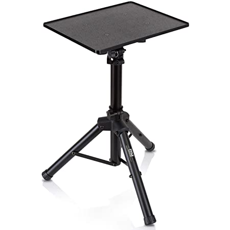 Universal Laptop Projector Tripod Stand - Computer, Book, DJ Equipment Holder Mount Height Adjustable Up to 35 Inches with 14'' x 11'' Plate Size - Perfect for Stage or Studio Use - PylePro PLPTS2