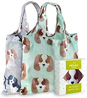 Momiji Premium Reusable Grocery Shopping Bags, Unique European Artists, Certified Recycled Polyester, Set of 2 Bags, Foldable, Eco-Friendly, Machine Washable, Lightweight (Cute Cavalier Dog)