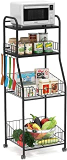 Tribesigns 4-Tier Kitchen Baker's Rack, Rolling Storage Cart on Wheels for Small Microwave Oven, Free Standing Kitchen Wire Shelving with Hooks, Black