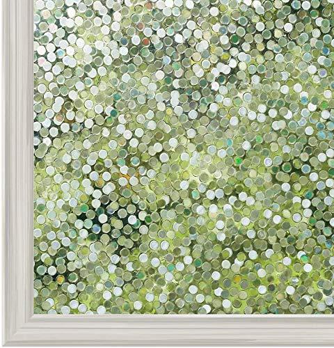 rabbitgoo 3D Fensterfolie Selbstklebend Sichtschutzfolie Statisch Dekofolie Kreise Muster Anti-UV 90 x 200 cm