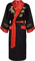 Kimono Japonais Homme réversible Noir et Rouge