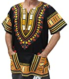 RaanPahMuang Brand Unisex Bright African Black Dashiki Cotton Shirt, XX-Large, Yellow and Orange