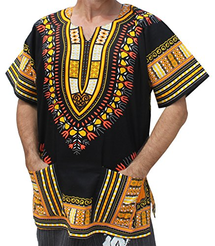 RaanPahMuang Plus Big Size Shirt Bright Africa Black Dashiki Cotton Broad Maxi