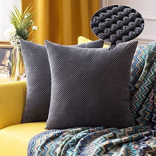 """MIULEE 2er Set Granulat Kissenbezug Ananas Weiches Massiv Dekorativen Quadratisch Überwurf Kissenbezüge Kissen für Sofa Schlafzimmer 20""""x20"""", 50 x 50 cm Dunkelgrau"""