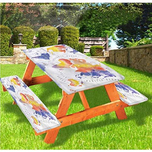 LEWIS FRANKLIN - Cortina de ducha moderna de lujo para picnic, estilo acuarela, diseño de mapa del mundo con borde elástico, 70 x 172 cm, juego de 3 piezas para mesa plegable