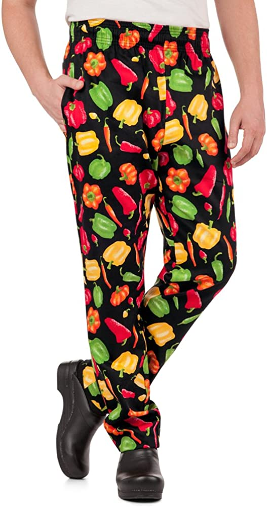 Men's Peppers Print Chef Pant Traditional 割り引き 人気急上昇 XS-3X Fit 1 Baggy