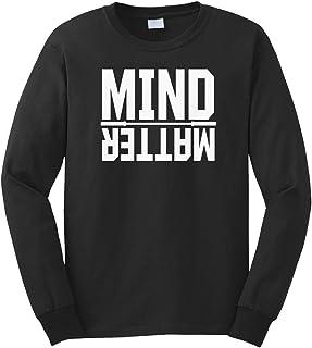 Cybertela Men's Mind Over Matter, Motivational Long Sleeve T-Shirt