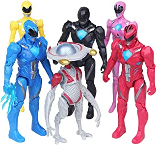 Jubasix Rangers Action Figures Toy 6 Pieces - PowRang Action Figure Super Heroes Set - Toys Play Gift Game - Super Heroes Toys 5-inch Toys PVC Action Figures 6pcs/Set Child Toys Gifts Decoration