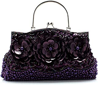 Women's Flower Sequined Handbag, Suitable for Banquets, Parties, Shopping, Five Colors to Choose from (Color : Purple)