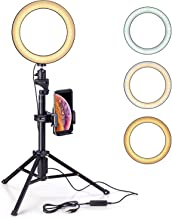 Eocean 8 inches Selfie Ring Light with Tripod Ring Light with Stand(54 inchesTripod) for YouTube/Live Stream/Makeup, Mini Led Camera Ringlight for Vlog/Video/Photography Compatible with iPhone Android