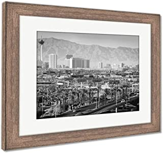 Ashley Framed Prints Las Vegas Nevada Cityscape, Wall Art Home Decoration, Black/White, 30x35 (Frame Size), Rustic Barn Wood Frame, AG6423262