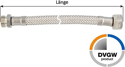 DVGW KTW-A tecuro Sanit/är Verbindungsschlauch 3//8 /ÜWM x 3//8 AG x 150 mm