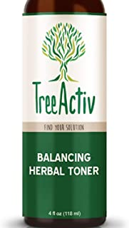 TreeActiv Balancing Herbal Toner, Facial Skin Moisturizer, Witch Hazel, Rose Water, Clary Sage, Tea Tree, Natural Astringent, Alcohol-Free, Reduce Oily Face Acne, Men, Women, Teens, 4 fl oz