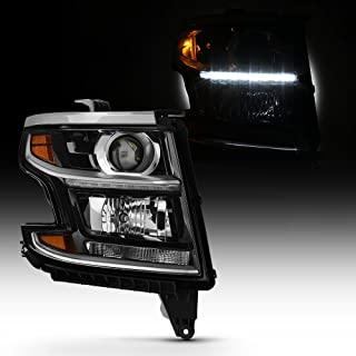 For 2015-2019 Chevy Suburban Tahoe Pickup OE Direct Replacement Projector Black Headlight (Passenger Right Side)