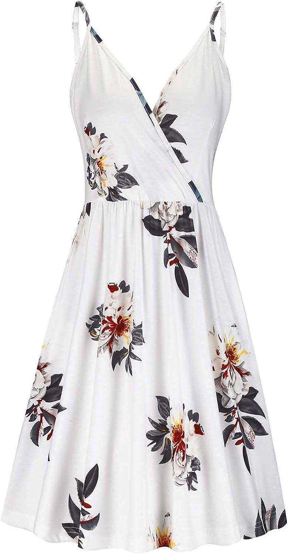VOTEPRETTY Women's V-Neck Spaghetti Strap Dress Summer Casual Swing Sundress with Pockets