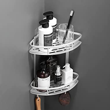 Flowmist Shower Caddy Bathroom Shelf, 2 Tiers Corner Shower Caddies, Shower Organizer, Wall Mounted Aluminum Shower Shelf wit
