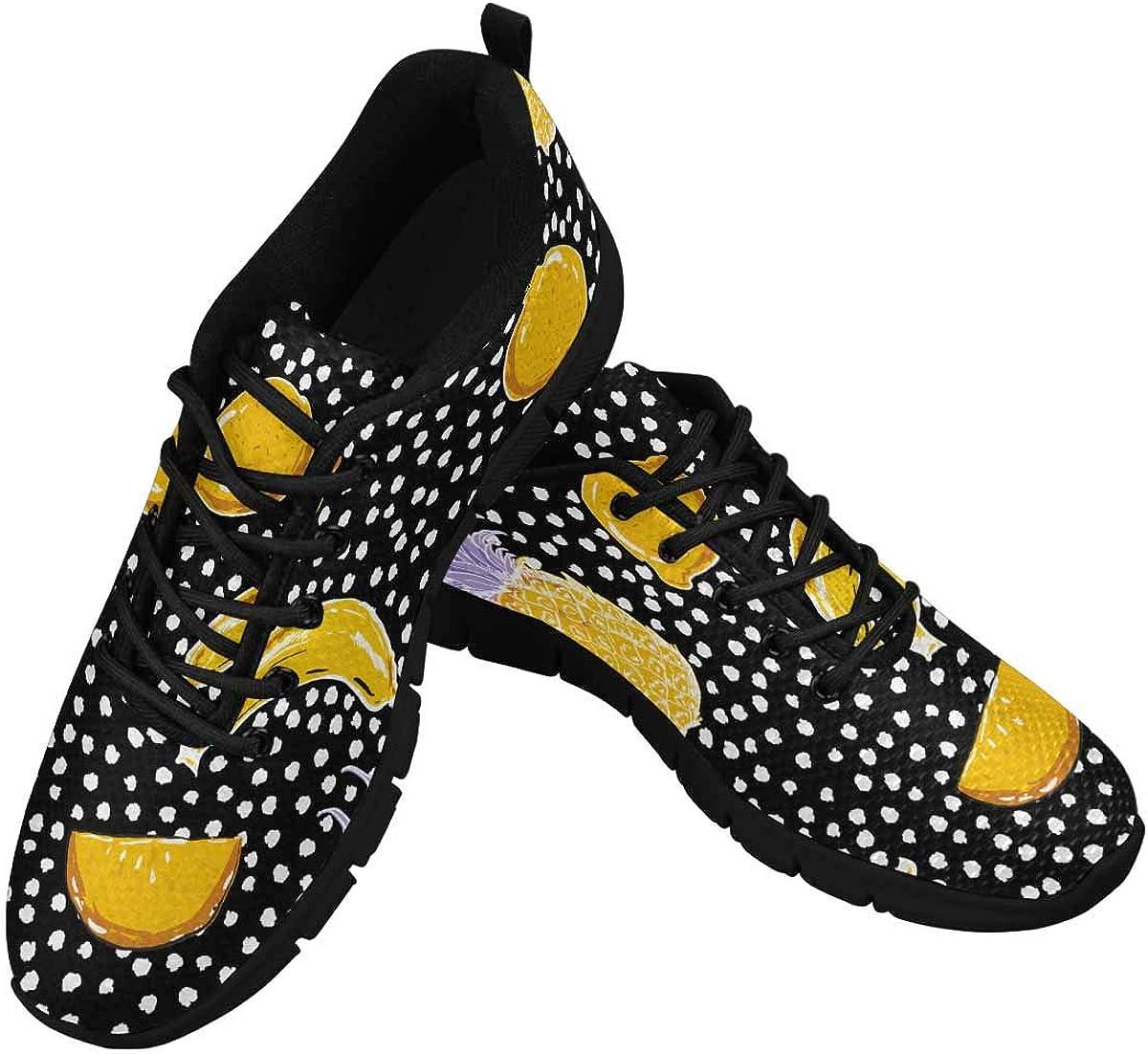 INTERESTPRINT Ummer Fruit Lemon Pineapplebanana Women's Athletic Mesh Breathable Casual Sneakers