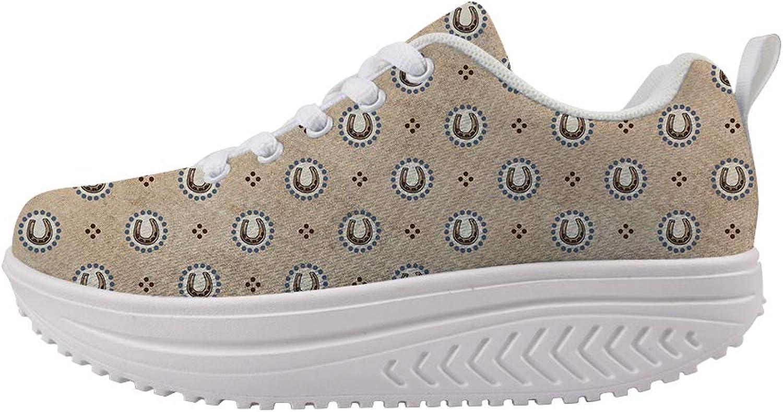 Owaheson Swing Platform Toning Fitness Casual Walking shoes Wedge Sneaker Women Lucky Horseshoe Pattern
