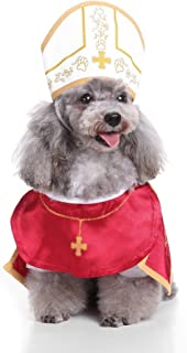 Glumes Pope Costume with Hat Pet Costume for Dogs Outfit Dog Cape for Halloween Day Pet Costume Cool Cute Dog Pet Cosplay Costume Clothing