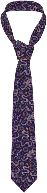 Bright Lizards And Snakes Rainbow Mens Necktie Classic Formal Neckwear Neck Skinny Ties