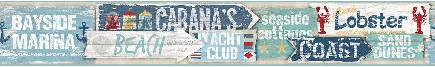 York Wallcoverings Nautical Living Beach Signs Border, Caribbean Blue/Aqua/Grey/Beige/Red/Gold