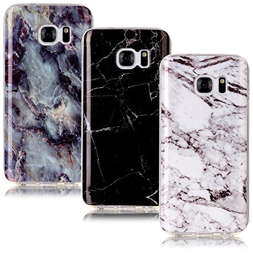 CLM-Tech Galaxy S7 Hülle 3X, TPU Gummi Schutzhülle Tasche Hülle passexakt Kratzfest Cover Gel Schale Silikonhülle 3er Set, Marmor Muster schwarz weiß bunt