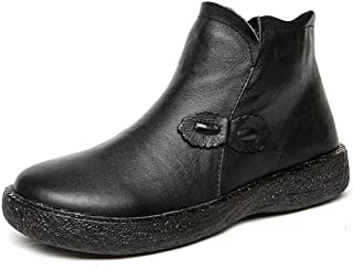 Women's Leather Booties Soft Leather Flat Mother Shoes Oxford Bottom High-Top Ladies Casual Shoes Black Brown,Black,37