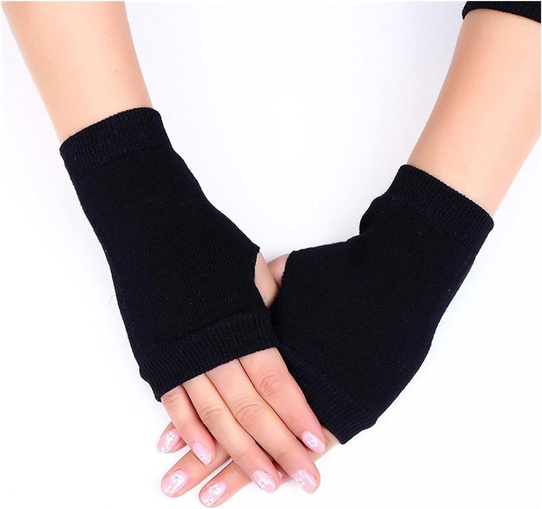 YSJJSQZ Winter Gloves Fingerless Flip Gloves Winter Warm Soft Comfortable Wool Knitted Glove for Women Exposed Finger Mittens Gloves (Color : Type C - Black)