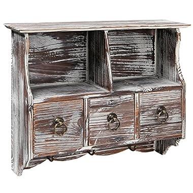 MyGift Country Rustic Brown Wood Wall Organizer Shelf Rack/Wall Cabinet w/Drawers & Metal Hooks