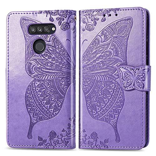 Cajas del teléfono móvil Caja del teléfono Caja de cuero for LG K50S mariposa repujado, estilo de la carpeta del libro tirón de la caja con la tarjeta de ranuras y soporte magnético y cierre for LG K5