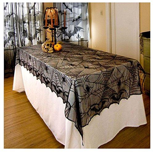 AISHNE Halloween Tischdecke Tischtuch Spinnennetz Dekorationen Spinnen Netz Abdeckung Gothic Spitze