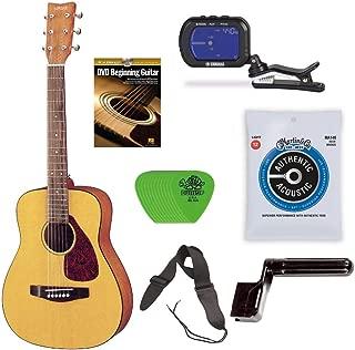 YAMAHA JR1 3/4 Size Acoustic Guitar Bundle with Clip-On Chromatic Tuner, Gig Bag, Guitar Strings, String Winder, Guitar Strap, Picks and Beginner's Learning Guitar DVD